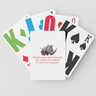 Naipes pobres de la visión del rinoceronte baraja cartas de poker