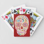 Naipes psicodélicos del cráneo del azúcar cartas de juego