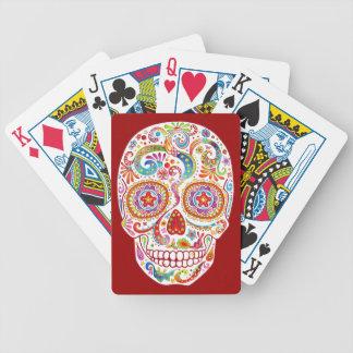 Naipes psicodélicos del cráneo del azúcar baraja cartas de poker