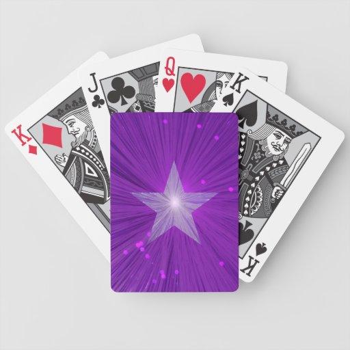 Naipes púrpuras de la estrella barajas