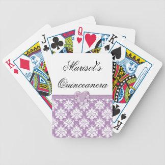 Naipes púrpuras de Quinceanera del corazón de la Baraja Cartas De Poker