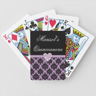 Naipes púrpuras de Quinceanera del corazón de la Baraja De Cartas