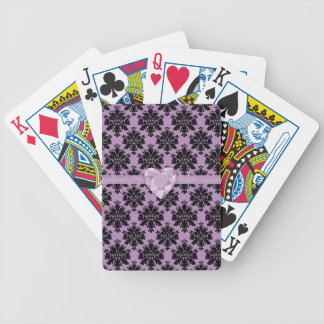 Naipes púrpuras del cumpleaños del corazón de la baraja cartas de poker