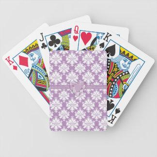 Naipes púrpuras del cumpleaños del corazón de la cartas de juego