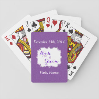 Naipes púrpuras del favor de banquete de boda