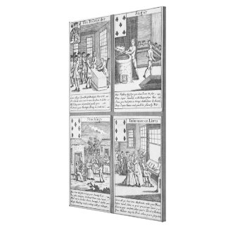 Naipes que representan el anuncio publicitario act impresión en lienzo estirada