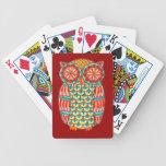 Naipes retros coloridos del búho barajas de cartas