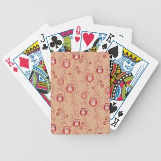 Naipes retros de los búhos cartas de juego