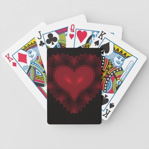 Naipes rojos del corazón barajas de cartas