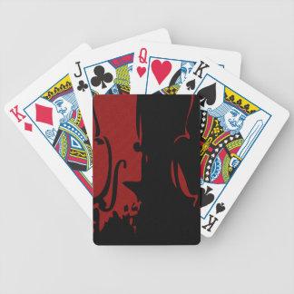 Naipes rojos del violín cartas de juego