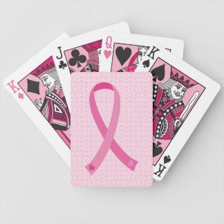 Naipes rosados de la conciencia del cáncer de pech barajas de cartas