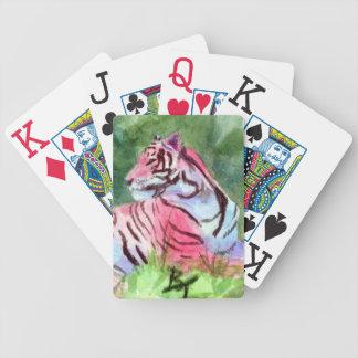 Naipes rosados del aceo del tigre baraja de cartas