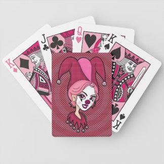 Naipes rosados del bufón baraja de cartas