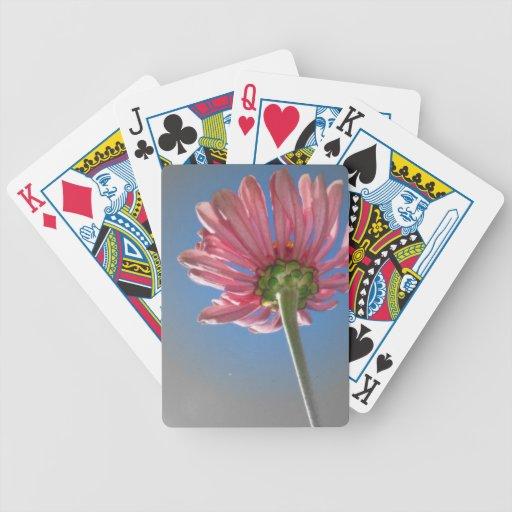 Naipes rosados del girasol baraja de cartas