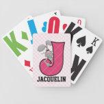"""Naipes rosados del monograma """"J"""" del Jackrabbit de Baraja Cartas De Poker"""