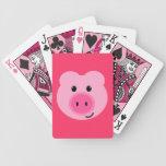 Naipes rosados lindos del cerdo barajas de cartas