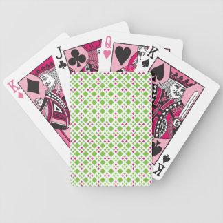 Naipes rosados y verdes del modelo baraja cartas de poker