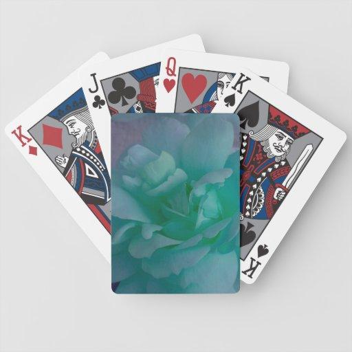 Naipes suaves verdes del pétalo color de rosa de l baraja cartas de poker