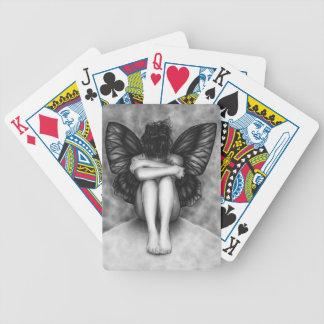 Naipes tristes del chica de la mariposa barajas de cartas