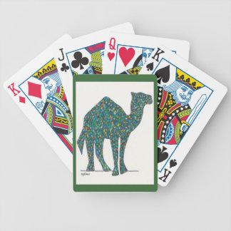 Naipes verdes del camello del vitral baraja de cartas