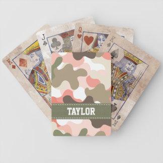 Naipes verdes rosados de Bicycle® del camuflaje de Baraja Cartas De Poker