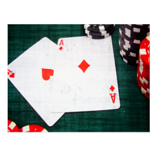 Naipes y estilo del Grunge de las fichas de póker Postales