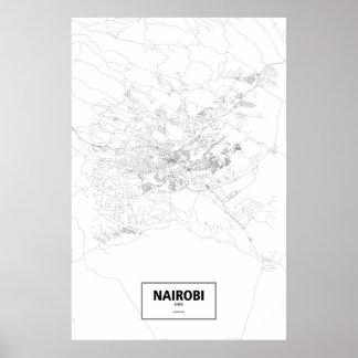 Nairobi, Kenya (black on white) Poster