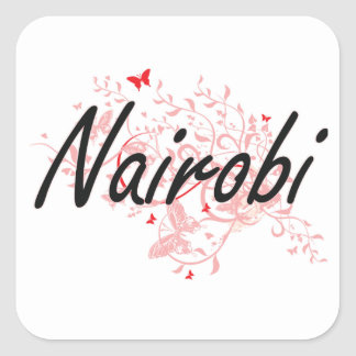 Nairobi Kenya City Artistic design with butterflie Square Sticker