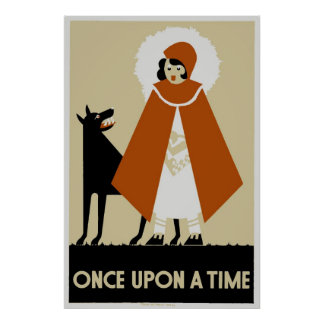 Naive Art Deco Little Red Riding Hood Poster