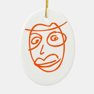 Naive artistic illustration ceramic ornament