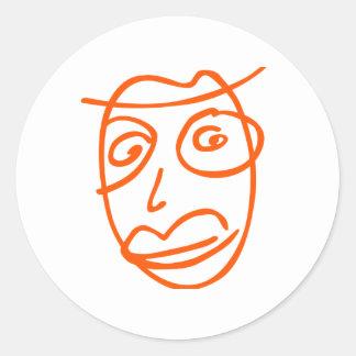 Naive artistic illustration classic round sticker