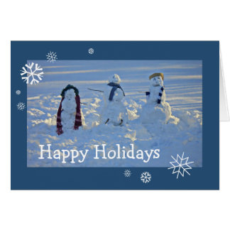 Naive Children's Snowman Snow Cold Blue Snowflake Card