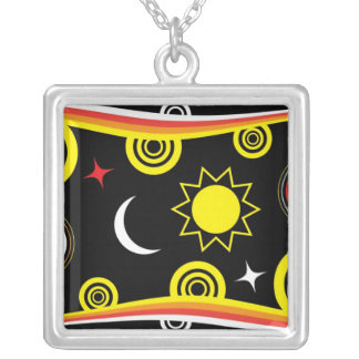 Naive funky pattern square pendant necklace