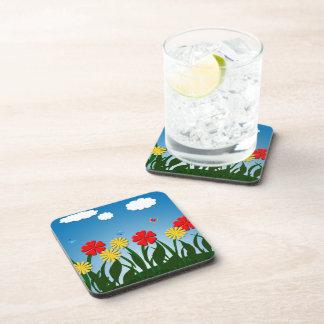 Naive nature scene beverage coaster
