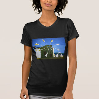 Naive Painting of a Windmill Black Fitted TeeShirt T-Shirt
