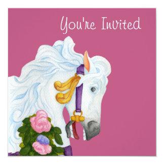 """Najira Carousel Horse Invitation 5.25"""" Square Invitation Card"""