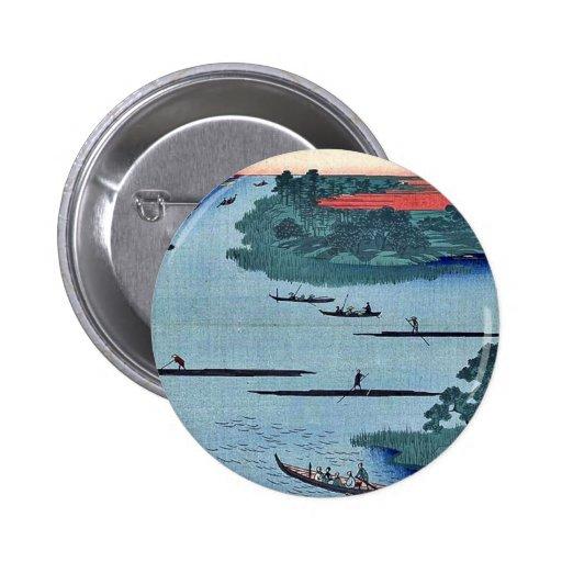 Nakagawa river mouth by Andō, Hiroshige Ukiyo-e. Button