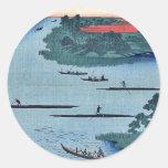 Nakagawa river mouth by Andō, Hiroshige Ukiyo-e. Sticker