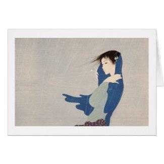 Nakajima Kiyoshi Fine Rain japanese woman art Card