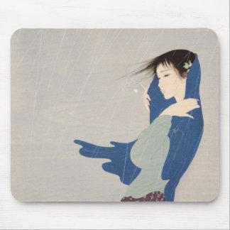 Nakajima Kiyoshi Fine Rain japanese woman art Mouse Pad