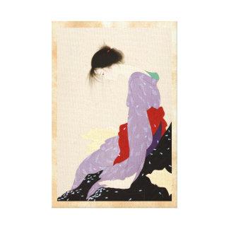 Nakajima Kiyoshi Love Letter japanese woman art Canvas Print