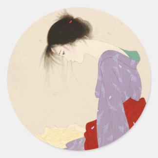 Nakajima Kiyoshi Love Letter japanese woman art Classic Round Sticker