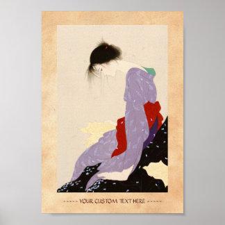 Nakajima Kiyoshi Love Letter japanese woman art Poster