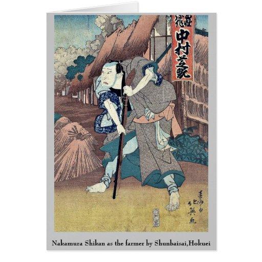 Nakamura Shikan as the farmer by Shunbaisai,Hokuei Stationery Note Card