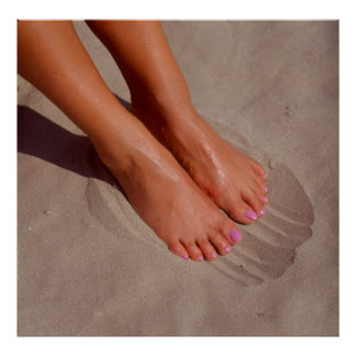 naked woman feet in the fine sand, poster