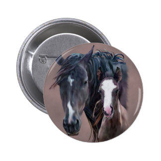Nakota Mare and Foal Pinback Button