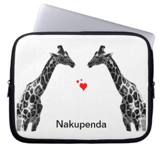 nakupenda giraffes laptop sleeves