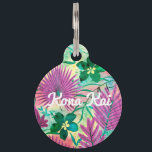 """Nalani Hawaiian Tropical Garden Fuchsia Pet ID Tag<br><div class=""""desc"""">Fuchsia pink and emerald green colorway. Beautiful tropical leaves and flowers are painted with a rainbow of watercolors. This design is reminiscent of the Aloha Shirt prints of the 40s and 50s. This design comes in several unique colorways.</div>"""