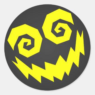 NALGames insano en el negro de la cara + Amarillo Pegatina Redonda