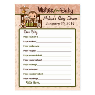 Nali Jungle Monkey Wishes for Baby Advice Cards